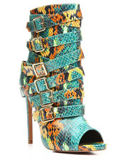 Women - Peep Toe Multi Buckle Bootie