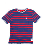 Boys - S/S 2 Fer Yarn Dyed V-neck Tee (8-20
