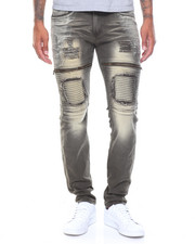 Rocawear - Twill Bleach Wash Jeans W Zippers And Motto