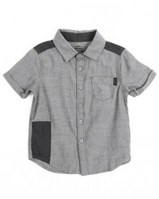 Boys - Chambray Repaired Roll Sleeve Woven (2T-4T)