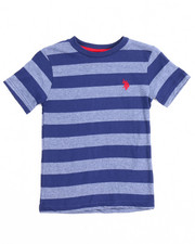Boys - S/S Yarn-Dyed Heathered Striped Crew Neck Tee (4-7)