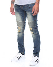 Kilogram - Biker Moto Denim Jean W/Zip Pockets