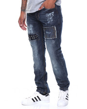 Men - Studded Patched Jeans