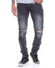 Men - Biker Moto Denim Jean W/Zip Pockets