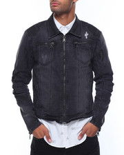 Men - Zip Pockets Biker Denim Jacket