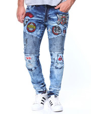 Jeans & Pants - Blue-Patches Motto Denim Jean