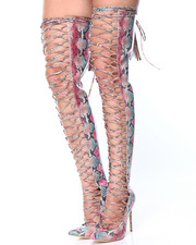 Women - Lace Up/Point Toe Thigh High Boot