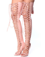 Women - Lace Up Thigh High Boot