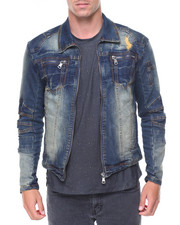Kilogram - Zip Pockets Biker Denim Jacket