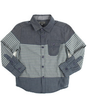 Long-Sleeve - Striped Chambray Roll Up Woven (4-7)