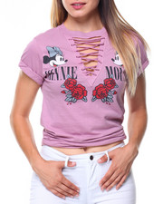 Graphix Gallery - Minnie Mouse Lace-up V-neck Tee
