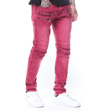 Men - Pleated Knee Colored Denim