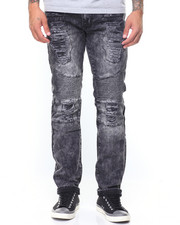 Buyers Picks - Zip Trim Slim Straight Moto  Ripped Jeans