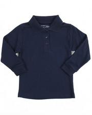 DRJ School Uniforms - L/S Girls Knit Polo Shirt (4-6X)