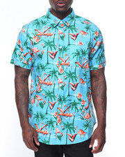 Button-downs - S/S Flamingo Printed Woven