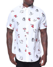 Button-downs - S/S Anchor Skull Printed Woven