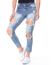 Women - Destructed High Cuff Skinny Jean