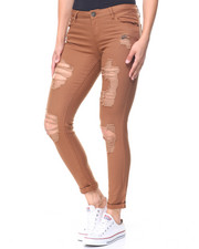 Women - Destructed Twill Roll Cuff Skinny Pant