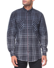 Button-downs - L/S Cotton Woven Plaid Ombre Shirts