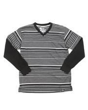 Tops - Striped L/S V-NECK (8-20)