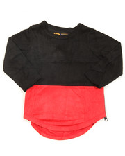 Sizes 2T-4T - Toddler - L/S Color Blocked Scalloped Tee (2T-4T)