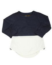 Arcade Styles - L/S Color Blocked Scalloped Tee (2T-4T)