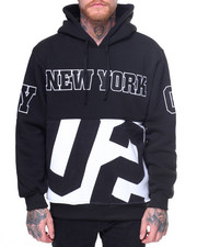 Hoodies - New York Patched Fleece Pullover Hoodie