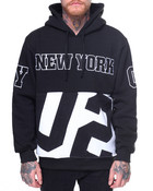 New York Patched Fleece Pullover Hoodie