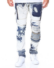 Men - Bleach Wash Jeans W/ Patches & Zippers
