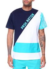 T-Shirts - Asymetric Cut/Sew Tri-Color Mix Tee