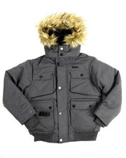 Outerwear - Heavy Coated Memory Jacket with Faux Fur Trim (8-20)