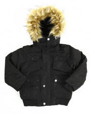 Outerwear - Heavy Coated Memory Jacket with Faux Fur Trim (4-7)