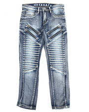 Arcade Styles - Pleated Zip Trim Jeans (8-20)