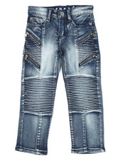 Jeans - Pleated Zip Trim Jeans (4-7)