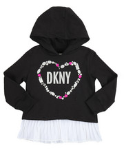 Girls - Pleated Chiffon French Terry Hoodie (2T-4T)