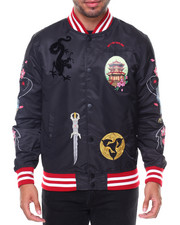 Men - Katana Bomber Embroidered Sleeve Knit Collar Jacket