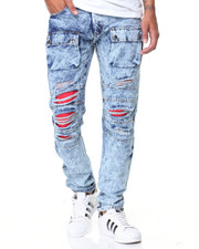 Buyers Picks - Red Detail Acid Wash Cargo Jean