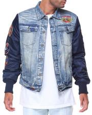 Top Gun - Denim Jacket W Patches Nylon Sleeve