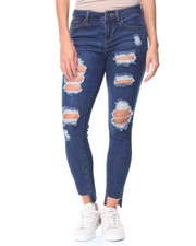 Women - Destructed Hi-Low Hem Jeans