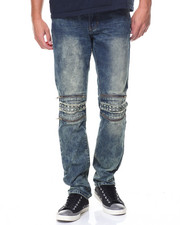 Buyers Picks - Pipe Jean Gold Zipper And Studs Washed Jean