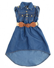 Sizes 2T-4T - Toddler - Belted Chambray Sleeveless Dress (2T-4T)