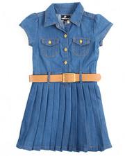 Girls - Pleated Chambray Dress (4-6X)