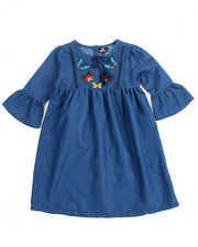 Dresses - Chambray Butterfly Embroidered Dress (7-16)