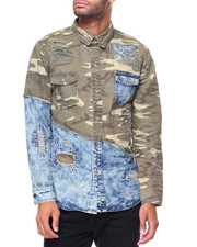 Button-downs - Camo/ Denim L/S Woven Shirt