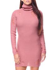 Dresses - Distressed L/S Turtleneck Mini Dress