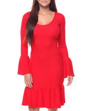 Dresses - Rib Ruffle Trim Sweater Dress