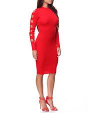 Dresses - Ribbed Mock Neck Cage Sleeve Midi Dress