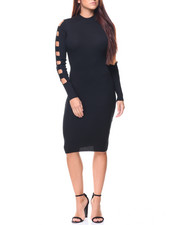 Almost Famous - Ribbed Mock Neck Cage Sleeve Midi Dress
