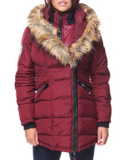 Outerwear - Asym Zip Faux Fur Lined Hood Jacket