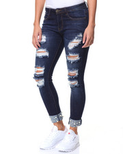 Fashion Lab - Pearl Cuff Ripped Jean